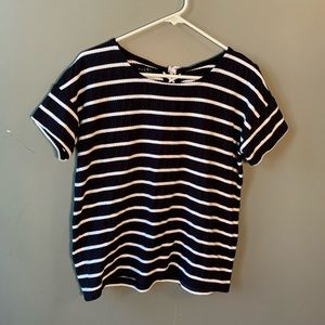 Talbots T-Shirt Navy Blue White Rope Stripes